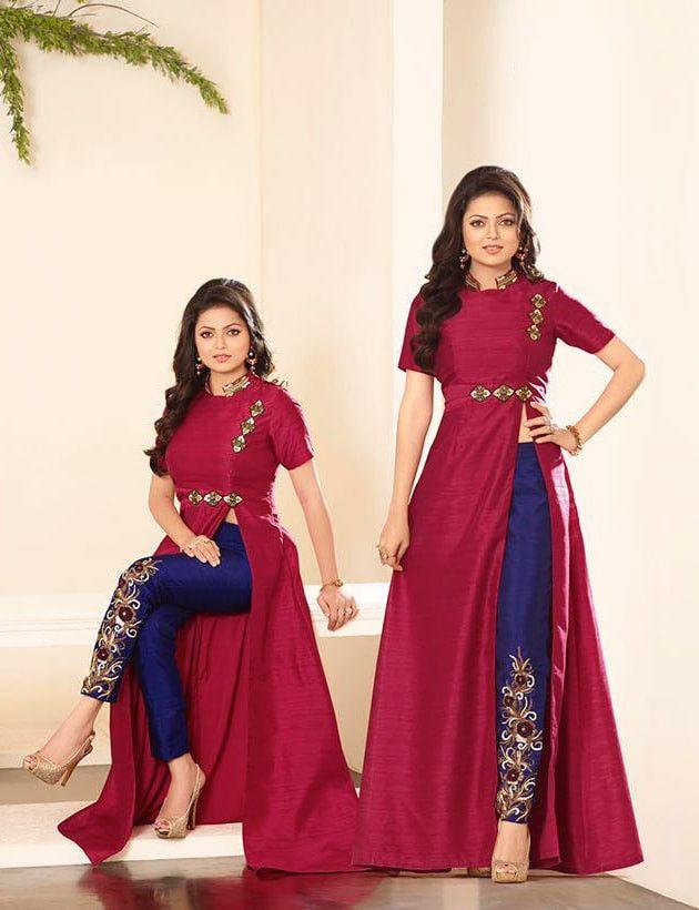 Blue & Maroon Silk Salwar Suit