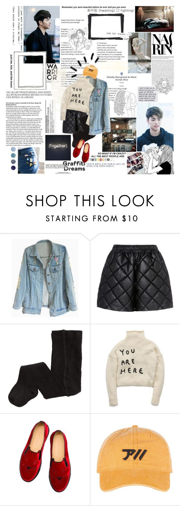 """""""' Why are you so quiet today? I'm here, you should be getting loud  Hands up to the left To the right Scream like you're crazy Shake it, doo doom chit ' + BKPOP RPG"""" by graceful-hobbit-rp ❤ liked on Polyvore featuring STELLA McCARTNEY, H&M, Charlotte Olympia and Terre Mère"""