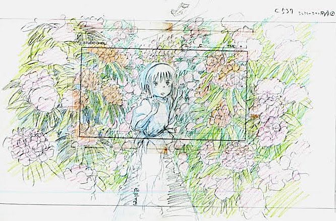 Film: Spirited Away (千と千尋の神隠し) ===== Layout Design - Scene: Through The Flowers ===== Hayao Miyazaki