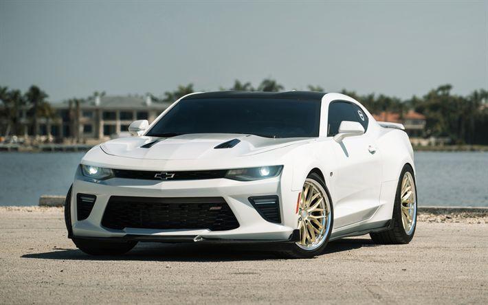 Hämta bilder Chevrolet Camaro SS, sportbil, sport coupe, vit Camaro, Amerikanska bilar, tuning Camaro, Chevrolet