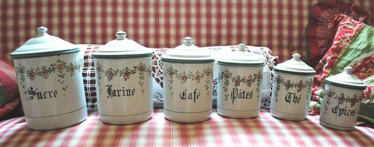 Enameled FRENCH ROSES Garlands Kitchen CANISTERS set 6 pieces antique di villavillacolle su Etsy