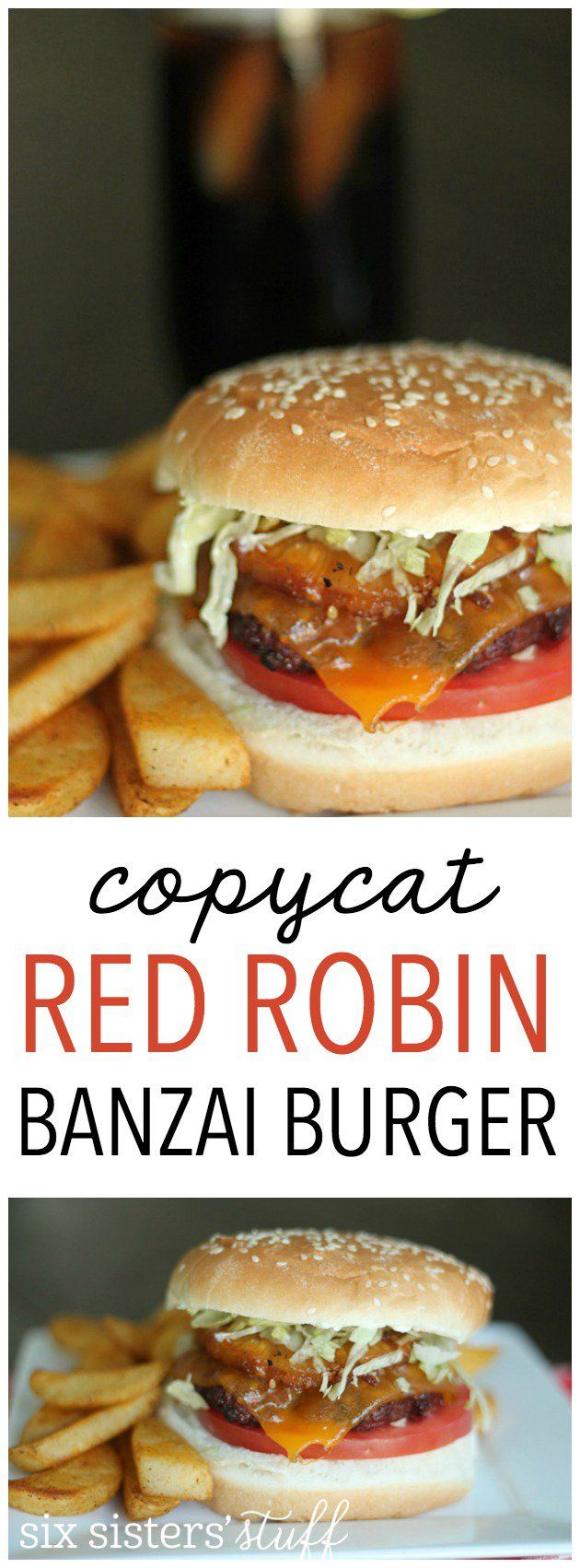 Copycat Red Robin Banzai Burger from SixSistersStuff.com. Tastes just like it came straight from the restaurant! So easy to make and SO DELICIOUS!