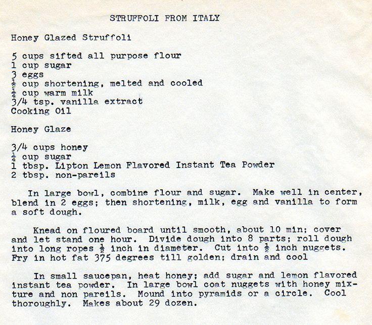 Struffoli Almost the same as Frank and Danielle's family recipe: 2 c flour, 1/4 tsp salt, 3 eggs, 1/2 tsp vanilla, 1 c honey, 1 Tbsp sugar, 1 Tbsp non-pareils