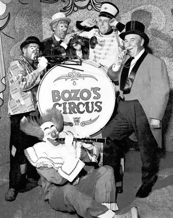Bozo's Circus, a television program targeted to kids, became more popular in Chicago than in any other television market. Bozo's original cast is shown here with Bob Bell as Bozo.