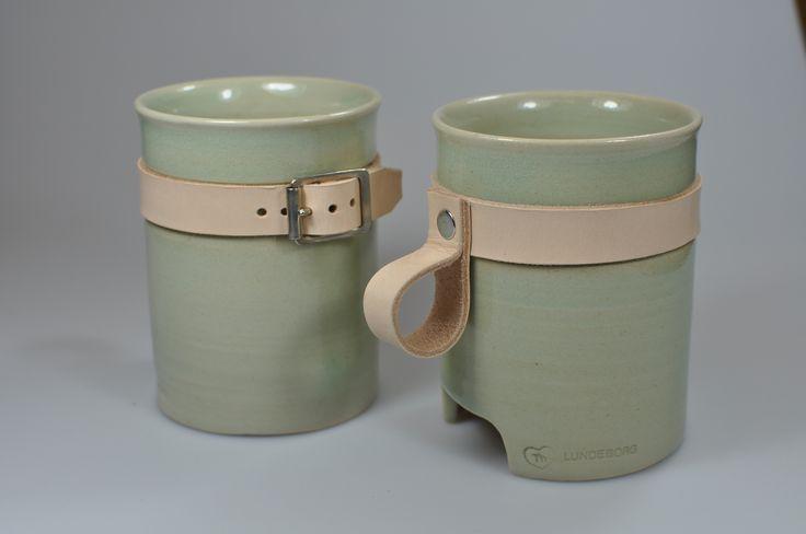 Mugs with leather handle - stoneware