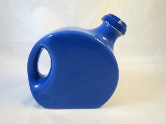 Blue Oxfordware Pitcher Cork Lined Stopper Slim Circle Shape w/ Handle and Spout Mid Century Modern Refrigerator Serving Pitcher Refrigerator