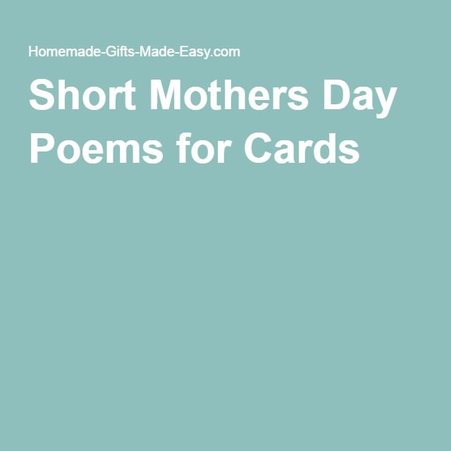 Short Mothers Day Poems for Cards