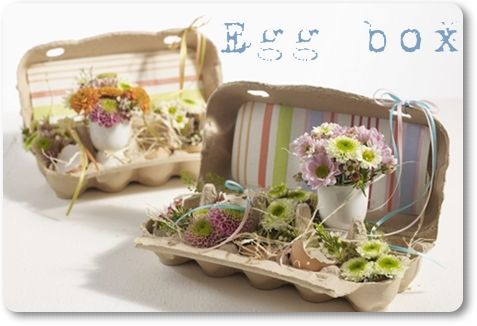Repurpose those empty egg cartons (paper type not styrofoam) into adorable spring flower holders