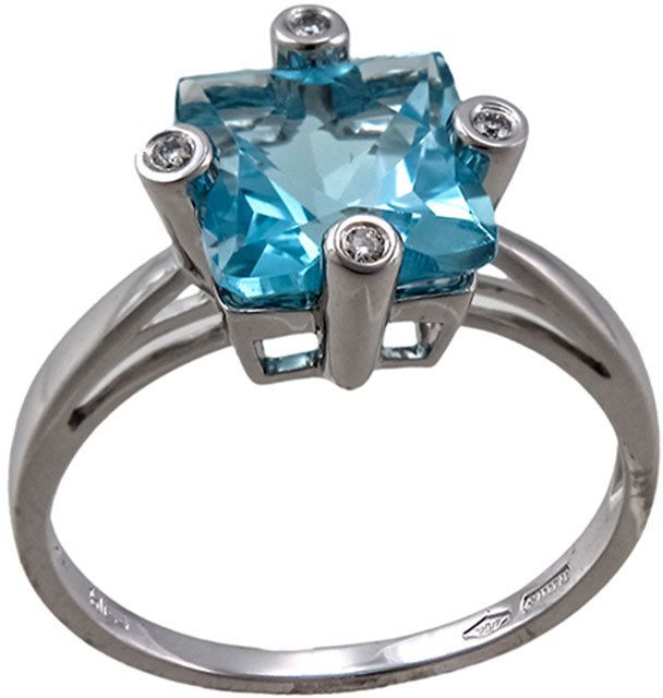 Bliss by Damiani Square 2.11 Blue Topaz & Diamond Ring, Size 7