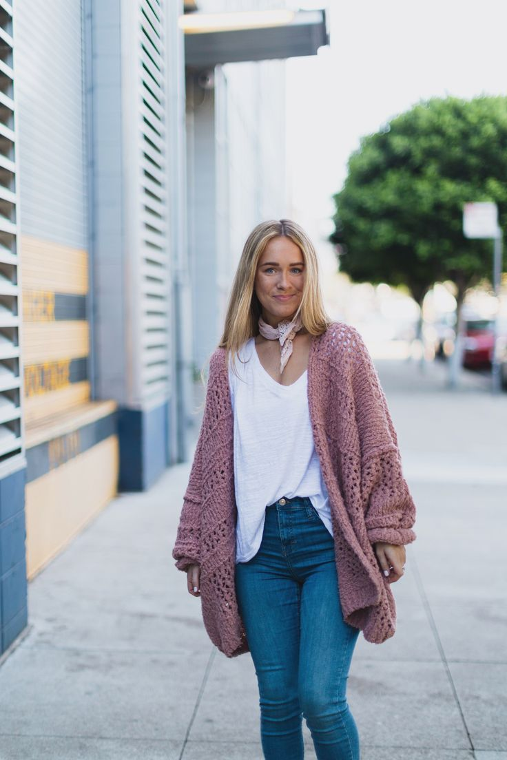 White tee with jeans and pink cardigan