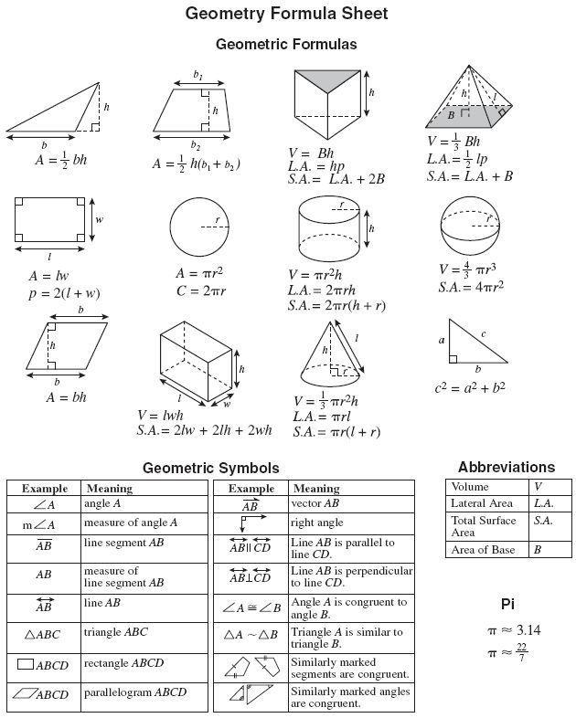Homework help geometry formulas