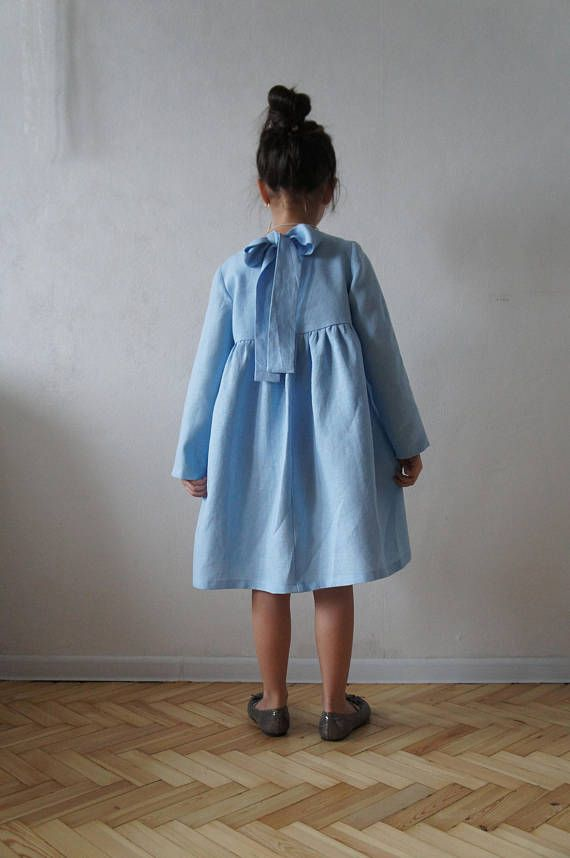 4e2e280b158e Linen dress with the bow/tie backside. Fabric: - 100 % Linen The COLOR on  the photo - Light Blue SIZE GUIDE: Size 2 Height: 92 cm / 37 inch Chest: 56  cm ...