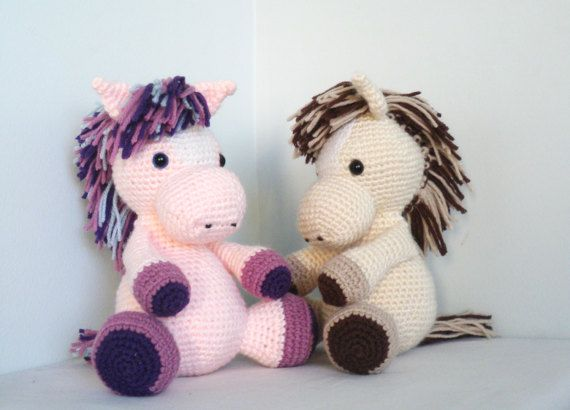 Crochet Horse: My favourite game with kids is hairdresers. They like to brush and braid my mane. After every hairdressing I ask them to pet me.  This baby toy arives with safety eyes which ensures that it can not be swallowed. Crocheted with acrylic (51%) and wool (49%) yarn. Stuffed