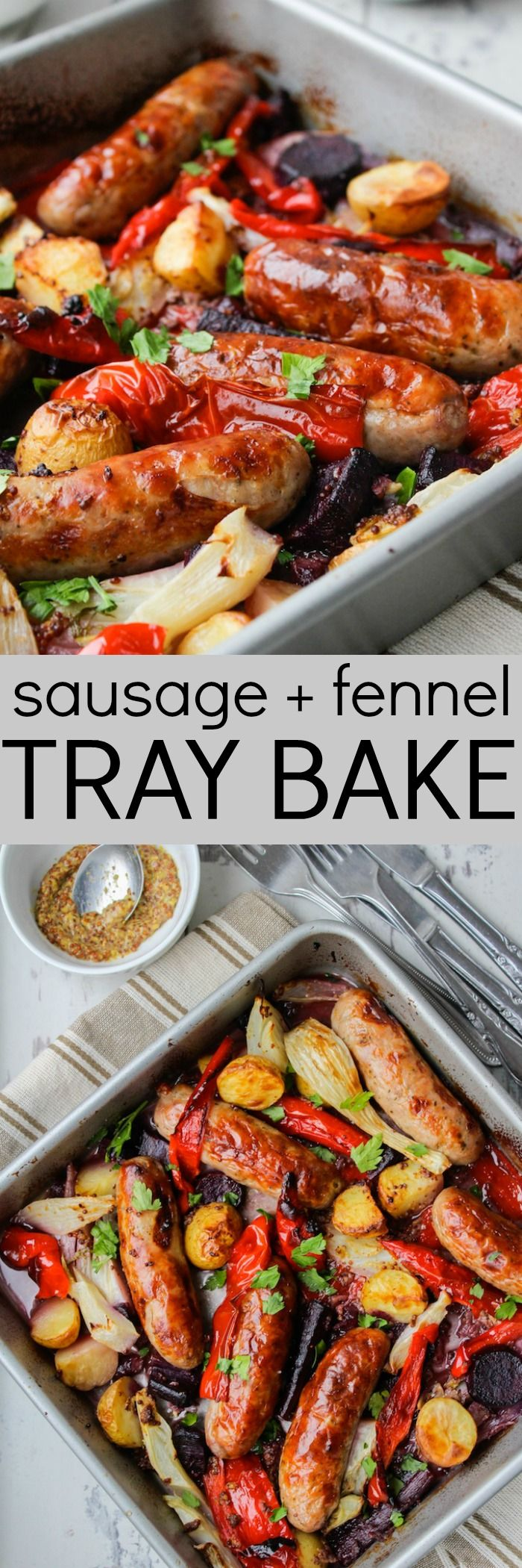 Easy Roast Dinner of Sausage + Fennel Tray Bake @asaucykitchen