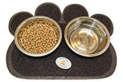 $23.95 Everlast Pet Toys | Best Bowl & Mat Feeding Station for Dogs | Anti Slip 'Paw' Shaped Floor Cover | Guaranteed | (2) Deep Silver Bowls | Top Rated - #1 Seller | For All Breeds And Sizes by Everlast Pet Toys