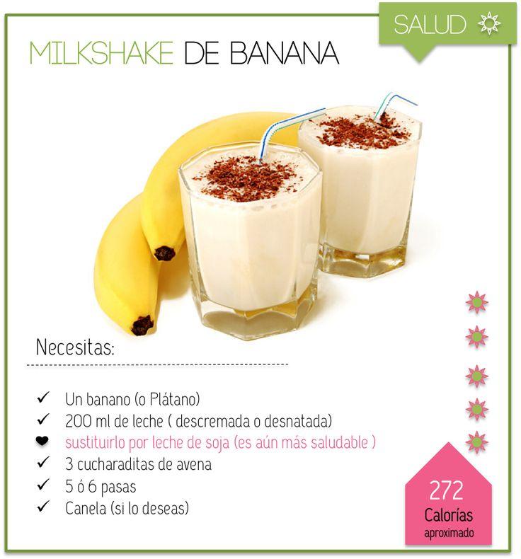 Postres Saludables | Batido de Banano | http://www.postressaludables.com