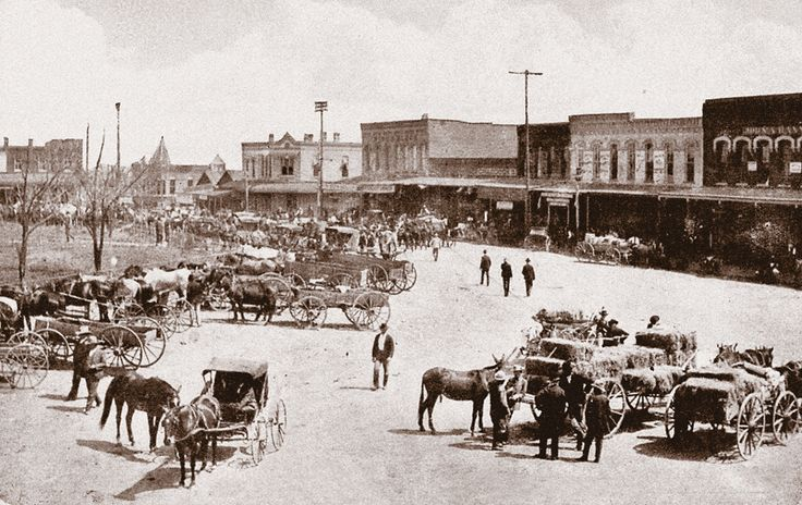 On the square in Denton, Texas: A first glimpse of the horse industry yet to come.