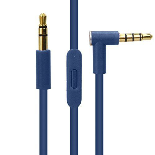 Replacement Audio Cable Cord w/ In-line Remote & Microphone for Beats by Dr Dre Headphones Solo Studio Pro Detox Wireless Mixr Executive (Blue)