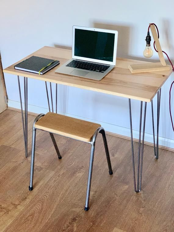 Ash Desk With Hairpin Legs Solid Hardwood Mid Century Modern Style Office Furniture Solid Hardwood Timber Furniture Mid Century Modern Style