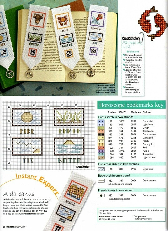 Cross-stitch Horoscope bookmarks, part 2..  with the color chart