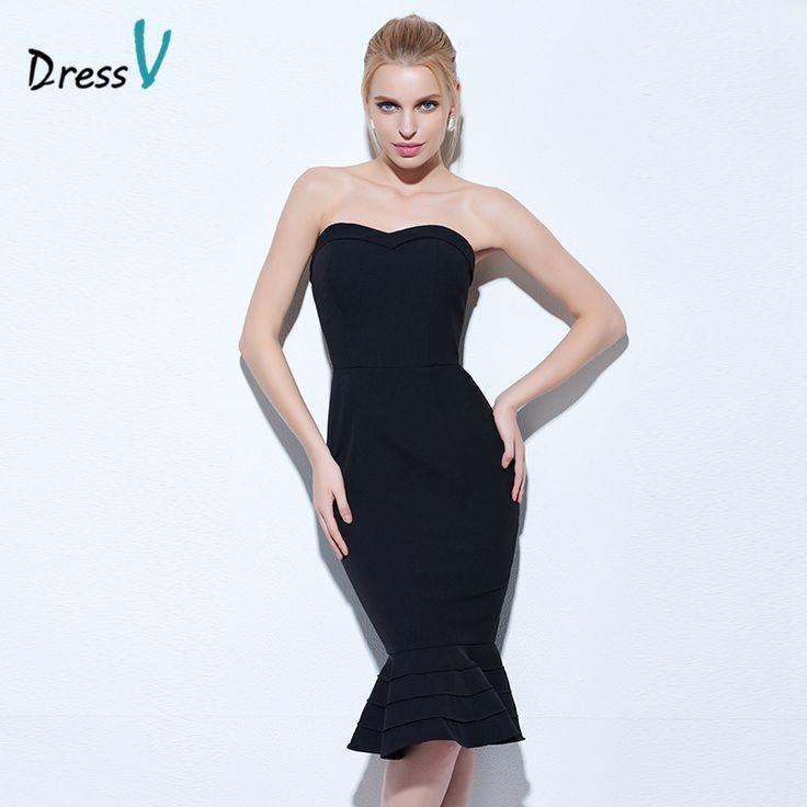 Dressv black mermaid cocktail dress strapless sleeveless knee length zipper up trumpet cocktail dress cheap short evening dress