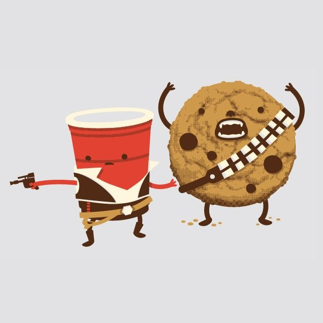 """Han Solo Chewie Cookie Wookiee T-Shirt Tee """"Hans Off My Cookie!"""" design shows Han """"Solo Cup"""" and Chewbacca """"Chewy Chocolate"""" in some Star Wars food play."""