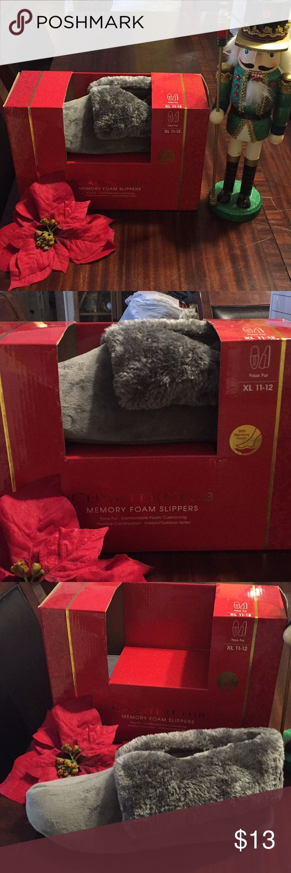BEAUTIFUL FUZZY MEMORY FOAM SLIPPERS BRAND NEW Great Christmas present for that special someone , Can be used for Ladies or Men Charter Club Shoes Slippers