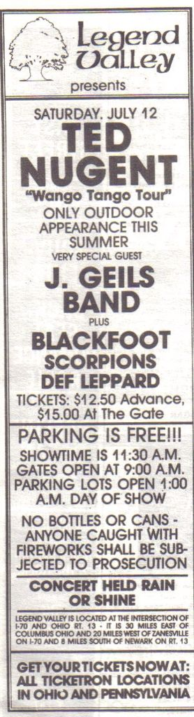 Ted Nugent, the J Geils Band and more.