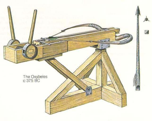 Ancient Greek Artillery Technology: From Catapults to the Architronio Canon  -The Oxybeles, bolt-shooting Greek catapult.