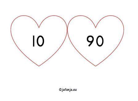 Rekenen in groep 3/4: verliefde harten tot 100 (splitsen) - Juf Anja
