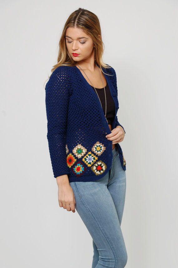 Vintage 70s GRANNY SQUARE Sweater Blue Knit Sweater Hippie Sweater RAINBOW Knit…