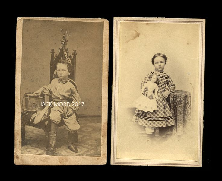 1860s Photos Politician Frederick Griffith & WIFE as Children! Doll & Drum Toys