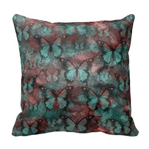 #HomeDecor #ThrowPillow #Pillow Red Teal Butterflies Pillow from $29.95
