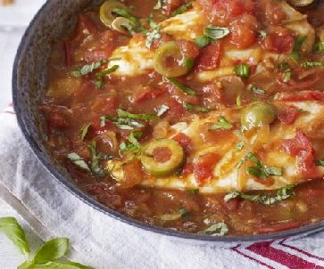 Low FODMAP Recipe - Pan-fried chicken with tomato & olive sauce http://www.ibssano.com/low_fodmap_recipe_chicken_tomato_olive.html