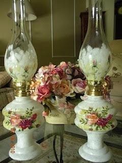 Jennifer Atkinson's Folkart-Decorative Painting Affair: Glass Oil Lamps - Royal Albert Design