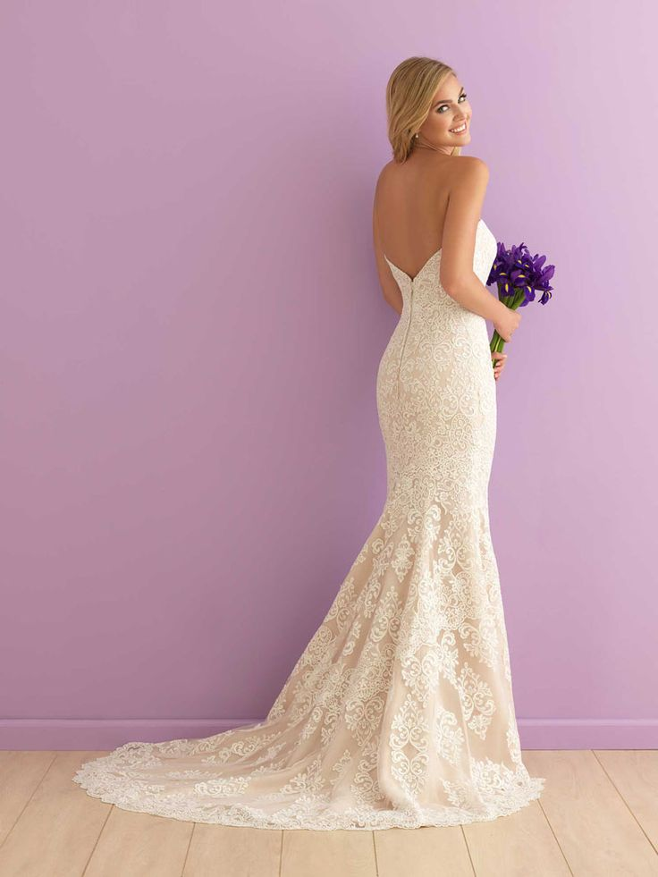 mermaid strapless sweetheart subtle lace wedding dress