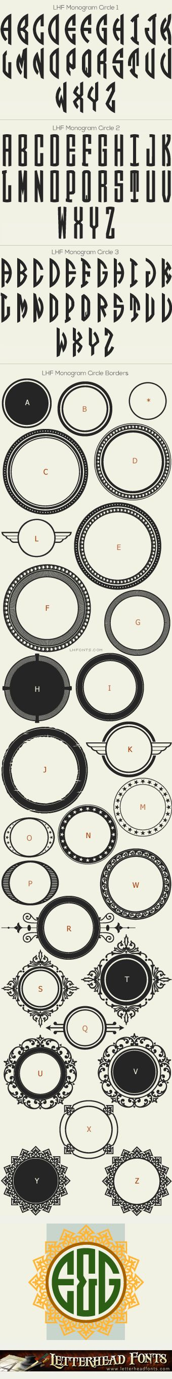 Letterhead Fonts / LHF Monogram Circle font set / Monogram Fonts