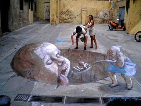 Eduardo Relero is a street artist working primarily in Spain. His fanciful illustrative style looks like storybook pages come to life, and indeed each of his anamorphic sidewalk chalk drawings seems to have a story behind it.