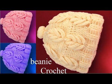 Como hacer gorros con hojas 3D tejidos a Crochet tallermanualperu - YouTube