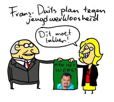 Cartoon: Frans-Duits plan. Molkenboer, cartoons en illustraties.