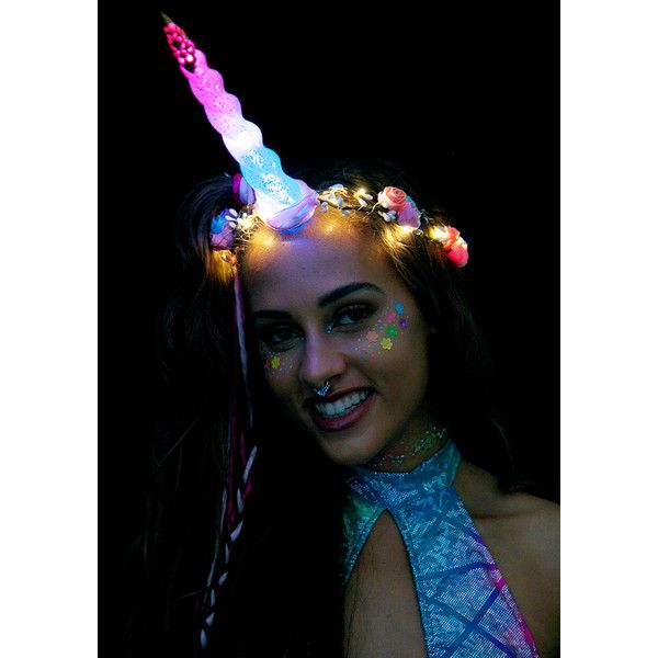 J Valentine Unicorn Queen Light-Up Flower Crown ($68) ❤ liked on Polyvore featuring accessories, hair accessories, flower crown, rose flower crown, floral garland, purple flower crown and purple garland