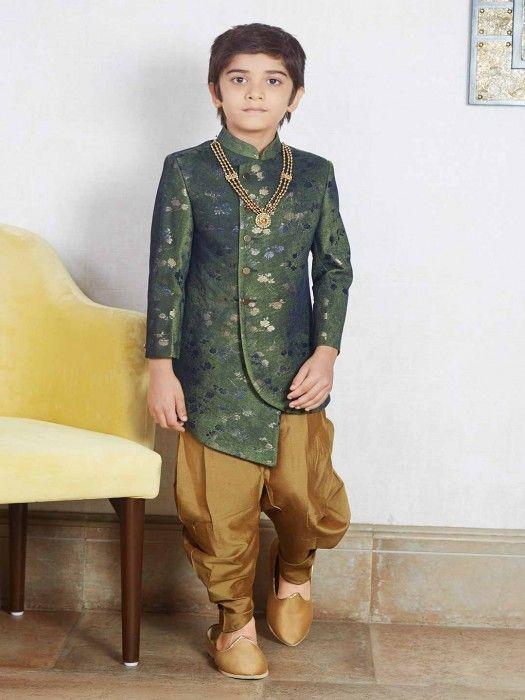 250f01b1b Raw Silk Green Party Indo Western,Designer boys dhoti suit for party wear, Designer  boys dhoti suit for function, latest designer dhoti suit for boys, ...