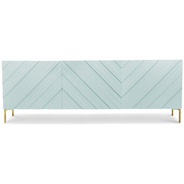 Chevron Three Door Credenza (¥287,110) ❤ liked on Polyvore featuring home, furniture, storage & shelves, sideboards, lacquer furniture, modern sideboards, modern credenzas, mod furniture and chevron furniture