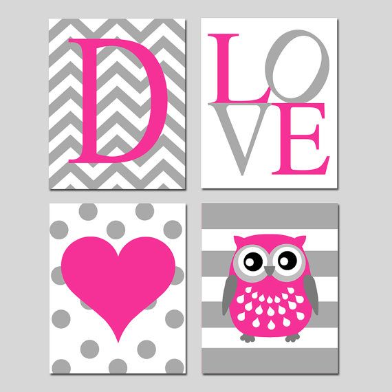 Baby Girl Nursery Art Quad - Chevron Initial, LOVE, Polka Dot Heart, Striped Owl - Set of Four 8x10 Prints - Choose Your Colors