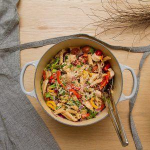 Etter å ha hatt fullt fokus på et 3-dagers kurs på jobb var det endelig tid for litt blogging igjen. I dag stod det pastasalat med kylling og chorizo på menyen.