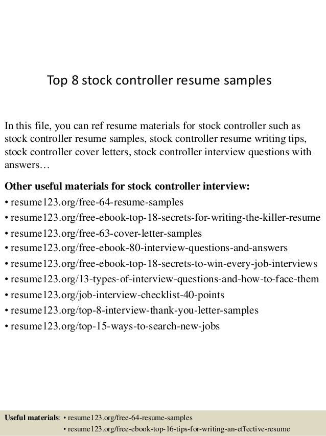 top stock controller resume samplesin this file you can ref - Controller Resume
