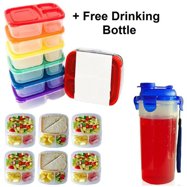 6 Kids Meal Prep Food Storage Containers 3 Compartment Lunch Box Portion Control | eBay