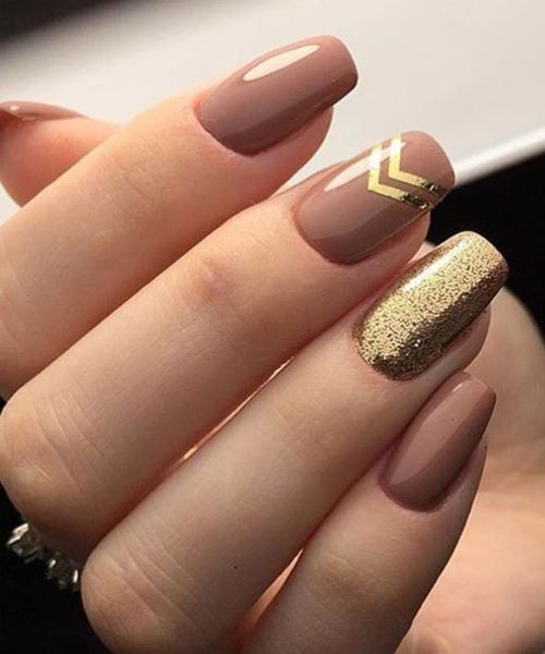 Tremendous Brown And Golden Glitter Nail Art Designs 2018