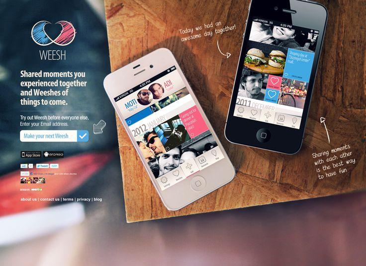 Interface Design for Weesh App.  Landing Page, Mobile Design, Branding