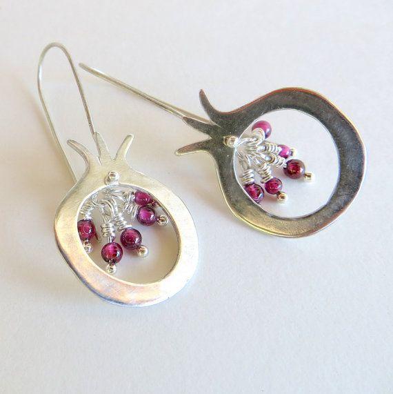 Sterling Silver Pomegranate Earrings with Garnet by LulyJewelry, $67.00